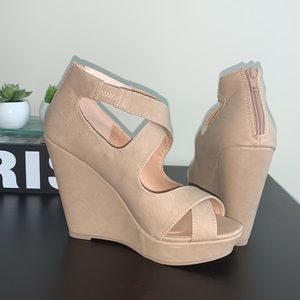 NWOT Material Girl Beige Wedge Shoes